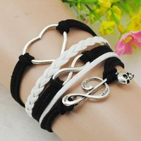 Music Heart infinity Antique Silver korea velvet Friendship Leather Cute Charm Bracelet B695