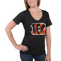 Cincinnati Bengals 5th & Ocean by New Era Women's Missy Big Logo Tri-Blend V-Neck T-Shirt - Black