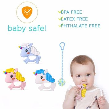 2pcs Unicorn Baby Teether Silicone Chewable Baby Teething Necklace Accessories Newbron Mordedor Teether Silicone Beads BPA Free