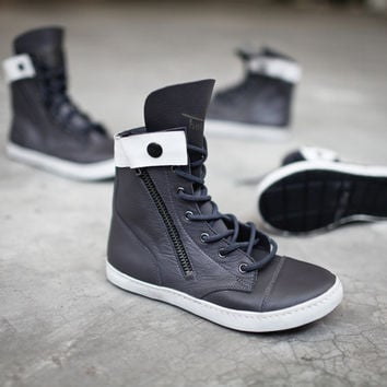 FLIP HIGH TOP - Leather and Brass with Zip Side and Snap Closure