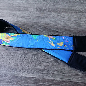 Map Camera Strap. Padded Camera Strap. For Traveller. Men Camera Strap. Blue Camera Strap. Photo Accessories