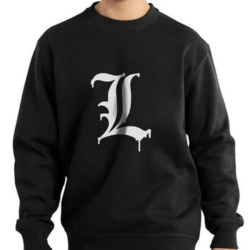 L Melting white print Death note printed on Black, Navy or Maroon Crew neck Sweatshirt