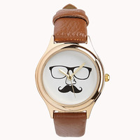 FOREVER 21 Mustache Faux Leather Watch Tan/Gold One