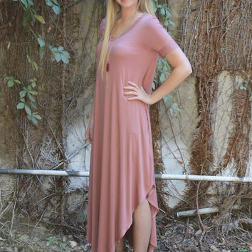 Change the World Maxi Dress: Dusty Rose