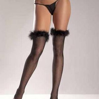 Fishnet Thigh Highs Marabou Trimmed Top Black