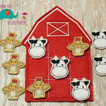 Barn farm animal tic tac toe game embroidered, board game activity travel game quiet game busy bag felt board play set cow horse pig rooster