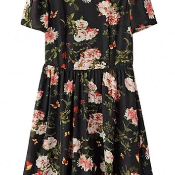 Black Floral Short Sleeve Pleated Mini Dress with Back Cutout