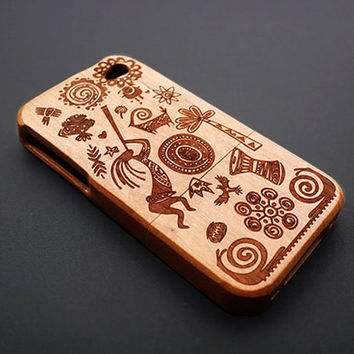 Indian Dark Bamboo Wood iPhone 4s Case - Custom iPhone 4 Case - iPhone 4s Phone Cases - Wooden iPhone 4 4s Case - iPhone 4 4S Case Wood Gift