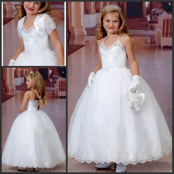 Girls Holy Communion Dresses vestidos de comunion 2016 Spaghetti Steaps Ball Gown White First Communion Dress with Bolero Jacket