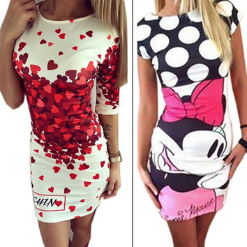 Vestidos  Love Heart Print Slim Pencil Dresses Party Plus Size Women Clothing Casual Bandage Bodycon Summer Dress Robe