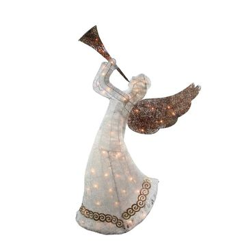 "60"" Lighted White Red and Bronze 3-D Animated Trumpeting Angel Christmas Yard Art Decoration"