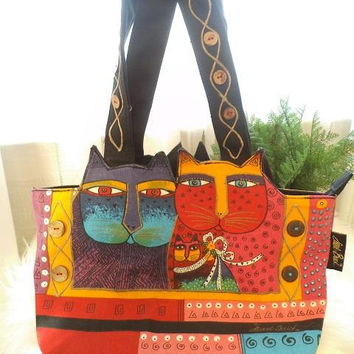 Bag by Laurel Burch ~ Fantastic Felines Handbag Purse ~ Colorful Artsy top Handle Bag ~ Cats