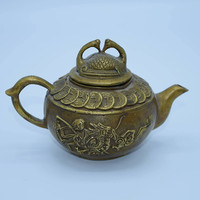 Brass Chinese Dragon Sage Coins Swan Tea Pot Vintage Small Asian Teapot Swan Lid Etched Bronze Tea Pot Ornate Etched Teapot Gift