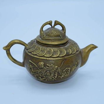 Vintage brass tea pot warmer