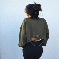 Scoop Hole Long Sleeves Casual Sexy Crop Top Sweatshirt