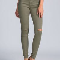 Slit Pretty High-Waisted Skinny Jeans