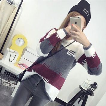 Korean Knit Tops Pullover Long Sleeve Sweater [8431753677]