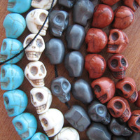 Howlite skull beads 10mm 4 strands Turquoise, Brown, Gray and White