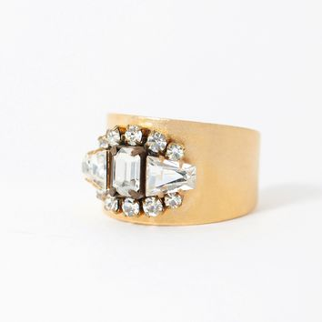 Vintage Crystal Cuff Ring