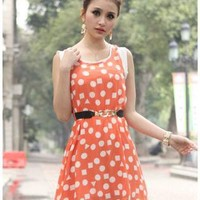 Orange Day Dress - HEGO Sweet Dot Sleeveless Dress | UsTrendy