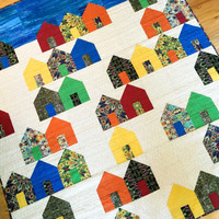 Houses Art Quilt - Village Fabric Wall Hanging - Modern Suburbs Lap Quilt - Quilted Sofa Throw - Starry Night Fiber Art - Handmade For Sale