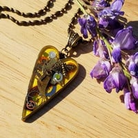 Yellow Steampunk Heart Necklace with Bee Charm, Honey Bee Steampunk Heart Pendant