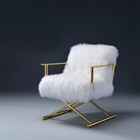 Bagley Accent Chair, Wool & Gold Brass By ACME