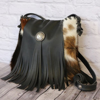 Cowhide Leather Fringe Shoulder Bag / Cowhide Handbag / Leather Cowhide Purse