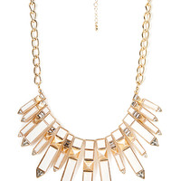 FOREVER 21 Faux Stone Dagger Bib Necklace Gold/Cream One