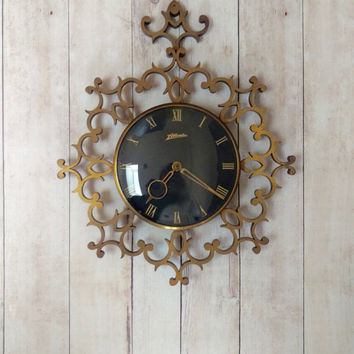 F Mauthe Atlanta German Clock/ Mid Century Brass Clock/ German Clock/ Atlanta Clock/ Mid Century Modern Clock/ Vintage Brass Clock