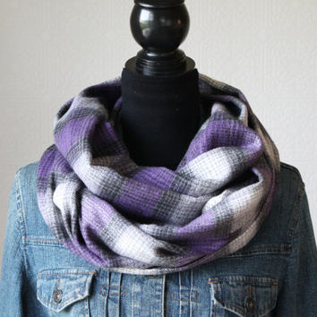 Purple Plaid Infinity Scarf, Flannel Scarf, Purple Scarf, Winter Accessory, Womens Scarf, Christmas Gift
