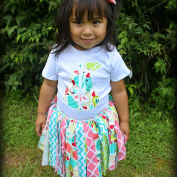 Beautiful Summer Colors 3 piece Outfit Shirt, Skirt & Hairbow
