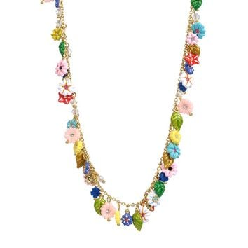 Les Néréides FANTASY CITY MULTI FLOWER LONG NECKLACE