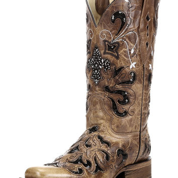 Women's Antique Saddle/Black Sequins Fleur De Lis Square Toe Boot - A2840