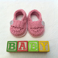 Baby Girl Shoes, Cute button loafers, Baby Booties, Baby Shower gift, Baby shoes in Blossom pink and white trim.