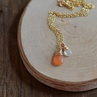Carnelian and Moonstone Necklace in Gold, Wire Wrapped Briolettes
