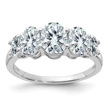 14k White Gold 3.5 CTW 5 Stone Oval Moissanite Ring