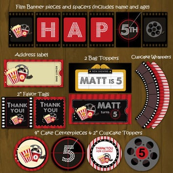 Movie Night Printable Birthday Party Package - Movie Night Complete Birthday Set - Invitation, cupcake toppers, banner etc