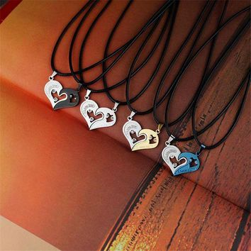DCCKJN2 Collares Stainless Steel Chain Heart Love Necklaces For Couples