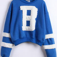 Blue Striped B Pattern Long Sleeve Cropped Sweatshirt