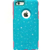 Custom iPhone 6/6s Plus (5.5 inch) Glitter Otterbox Commuter Cute Case, Bling, Sparkly Custom  Glitter - Blueberry Slush / Pink Color