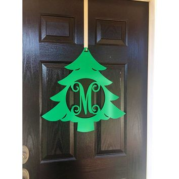THE NOEL: Christmas Tree Metal Monogram Door Wreath,