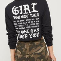 You Got This Raw Edge Crop Top | Long Sleeve Graphic Tees | rue21