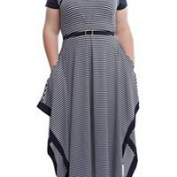 Dark Blue Short Sleeve V-Neck Striped Dress