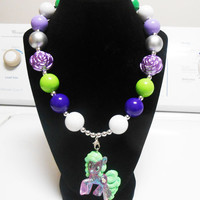 My Little Pony Flower wishes Bubblegum gumball chunky Necklace