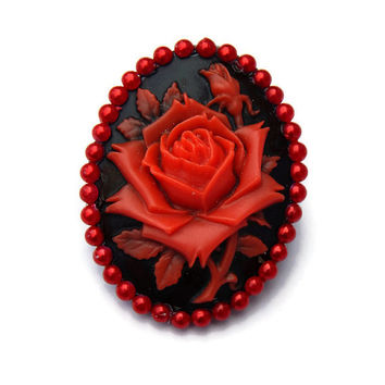 Black and Red Rose Brooch, Rockabilly Cameo Pin, Pin up, Vintage Inspired