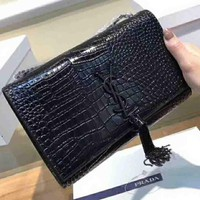 YSL New fashion tassel women shoulder bag Black