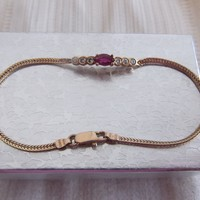14K Yellow Gold, Diamond and Ruby Bracelet