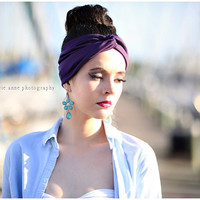 Plum purple,Turban head wrap perfect for workout,  Stretchy  Fashion, all day comfort women's hippie, indie, Headband hair band