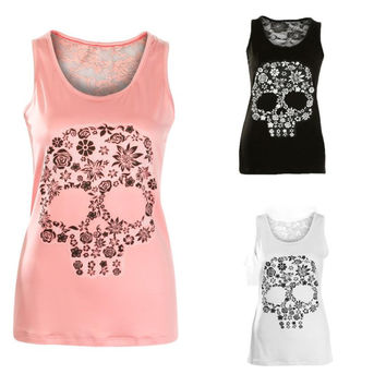 Skull Print T Shirt Lace Hollow Out Back Tank Top